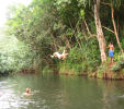 Rope swing at pool near end of trail.